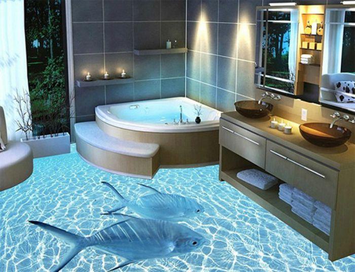 Как сделать 3д полы в ванной своими руками