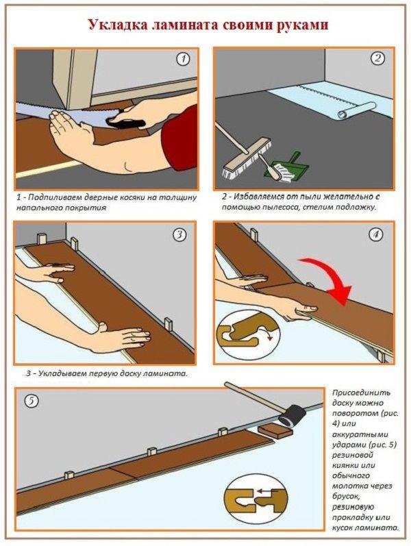 Как укладывать ламинат в коридорах  пошаговая инструкция 182