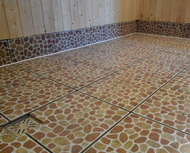 Как сделать кафельные полы в бане 695
