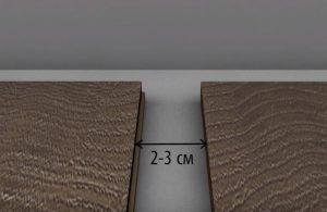 При укладке панелей толщиной 0,7-1 см на пространстве размером 6х8 м местами оставляются компенсационные швы шириной 2-3 см