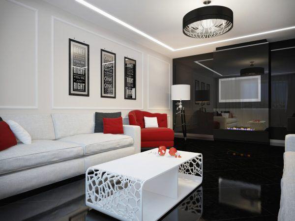 Белоснежная окантовка мебели в виде потолка и стен с двукратным дубляжом черного цвета и декором в серых тонах смотрится весьма креативно