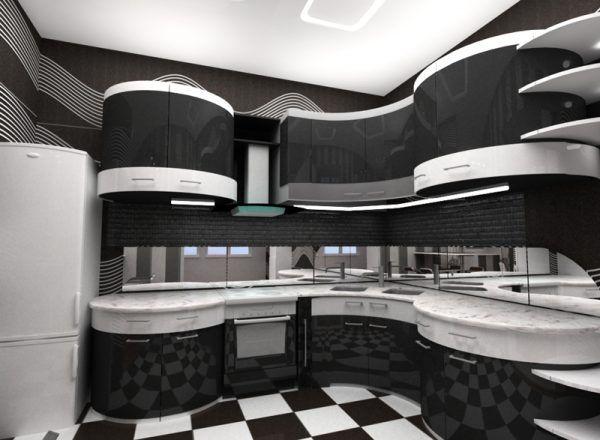 Черно-белая глянцевая кухня - продолжение в отражении