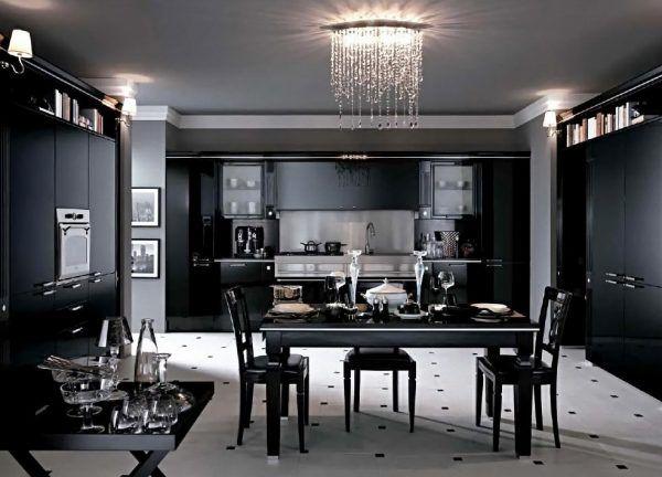 Идея декора пола и потолка на черно-белой кухне