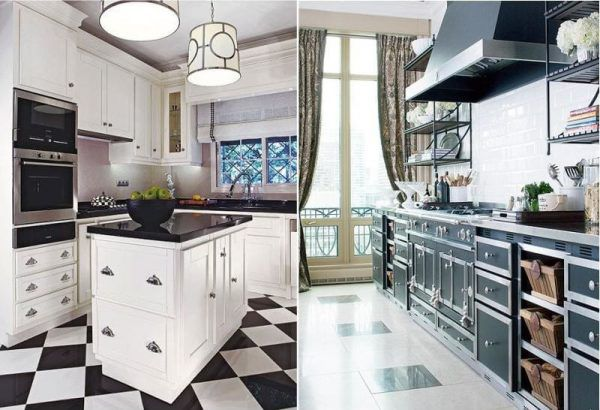 Кухни с черно-белым полом