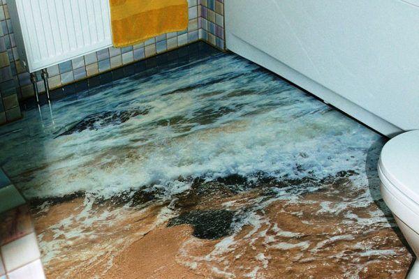 Наливной 3D пол в интерьере ванной