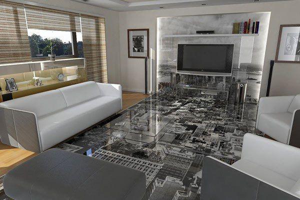 Наливной 3d пол позволит создать оригинальный дизайн интерьера гостиной