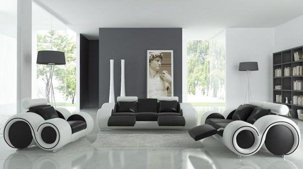 Обратите внимание на то, что на полу будет прекрасно смотреться черно-белая глянцевая плитка крупного размера или другие напольные материалы