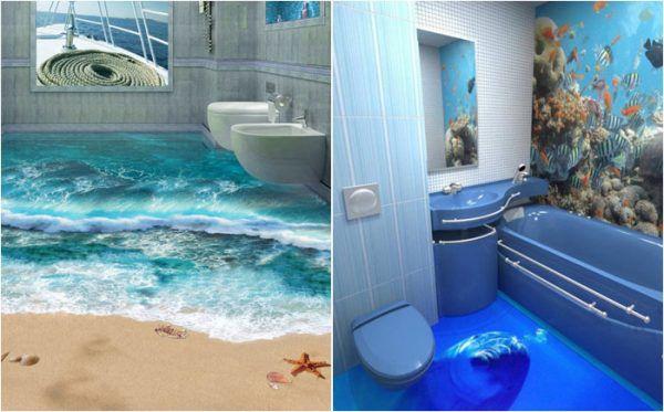 Пол с 3Д эффектом в ванной комнате