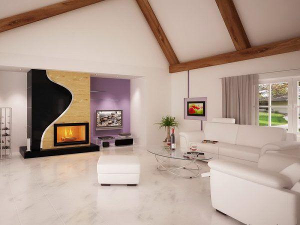 Пример гостиной с белым полом