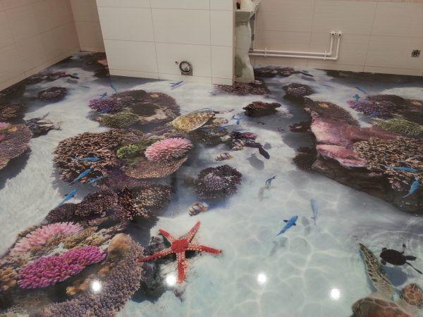 Трехмерный наливной пол в ванной