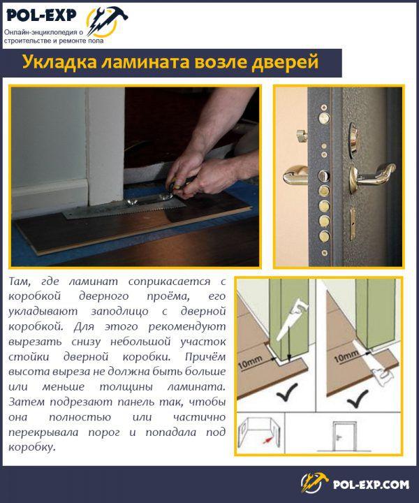 Укладка ламината возле дверей