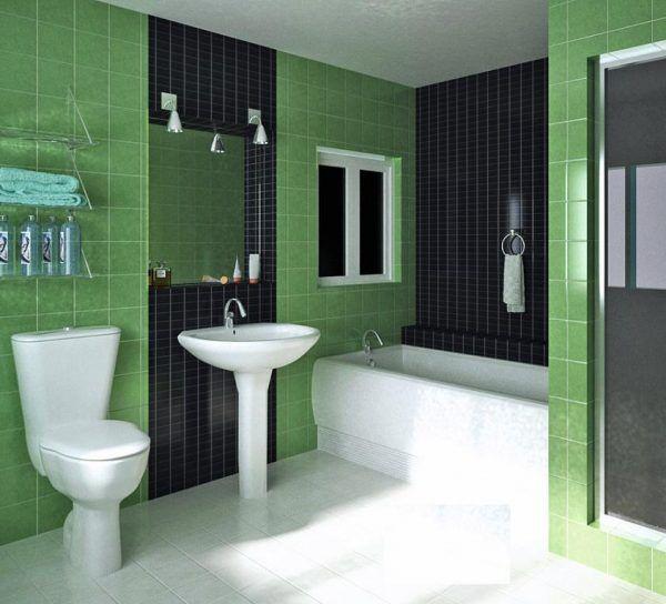 Зеленая с черным ванная комната