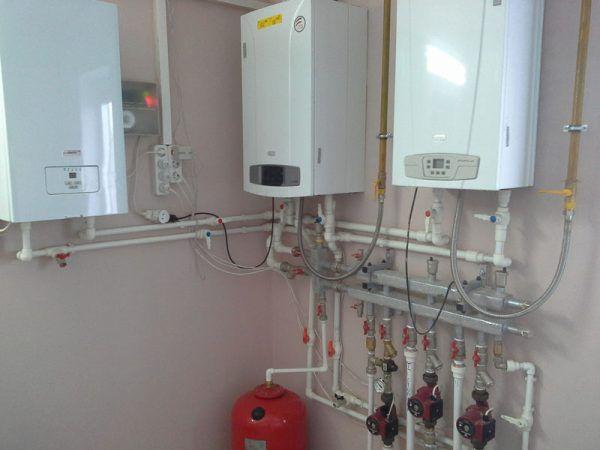 Установка газового котла BAXI + электрокотел Protherm