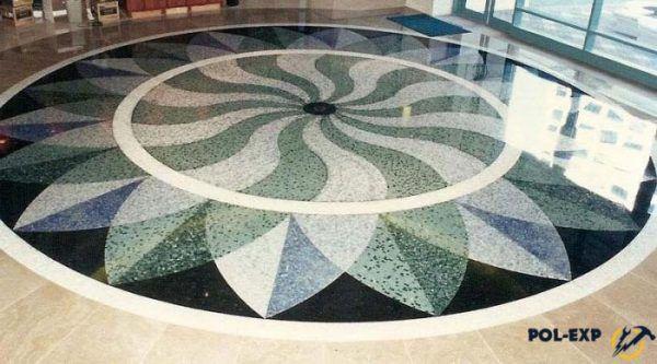 Бетонно-мозаичный пол - фото
