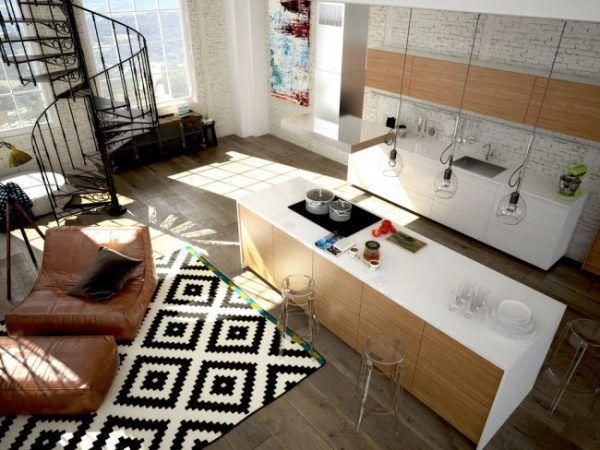 Черно-белые контрасты в скандинавской квартире-студии