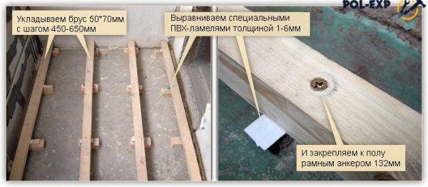 Пример укладки брусков под листы ДСП на балконе