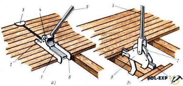 Сжимы для сплачивания досок пола: а - строительная скоба, б - сжим-скоба, в - сжим клиновой с подвижной скобой; 1 - клин, 2 - скоба, 3 - лага, 4 - клиновой сжим, 5 - шпора, 6 - подвижный упор