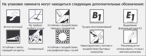 Дополнительные обозначения, которые могут находиться на упаковке ламината