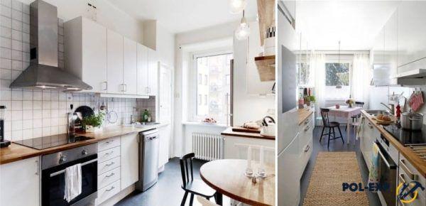 Темный наливной пол в интерьере кухни в скандинавском стиле