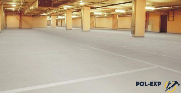 Бетонные полы с упрочненным верхним слоем на подземной парковке