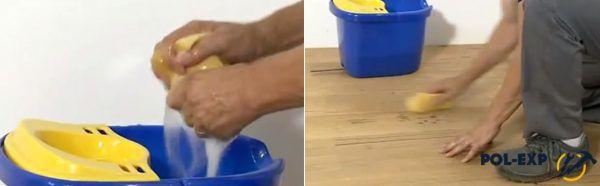 Протирайте губкой пятна, которые не смогли удалить шваброй