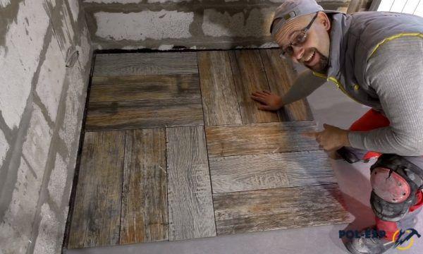 Третий способ укладки - квадрат с плиткой в разных направлениях