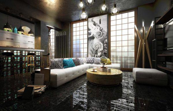 Белая мебель на черном полу