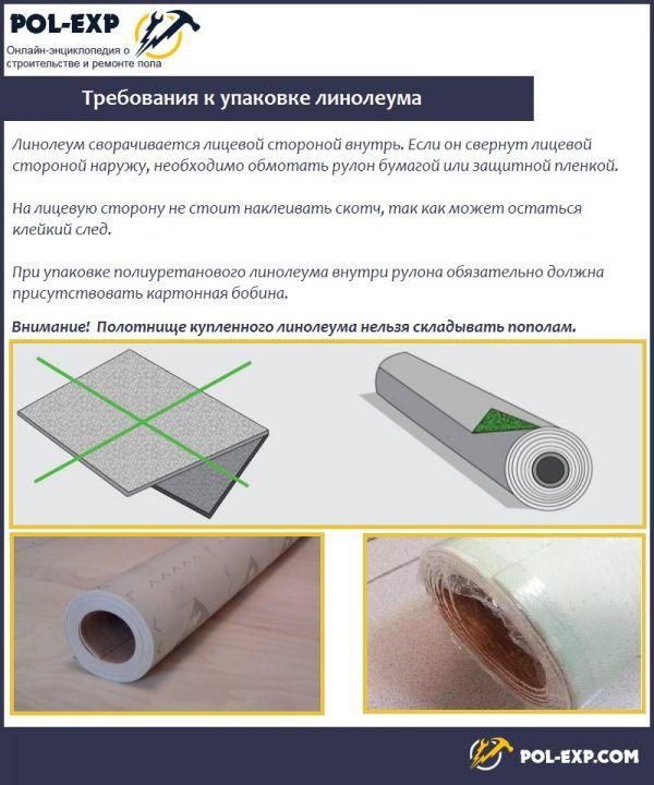 Требования к упаковке линолеума