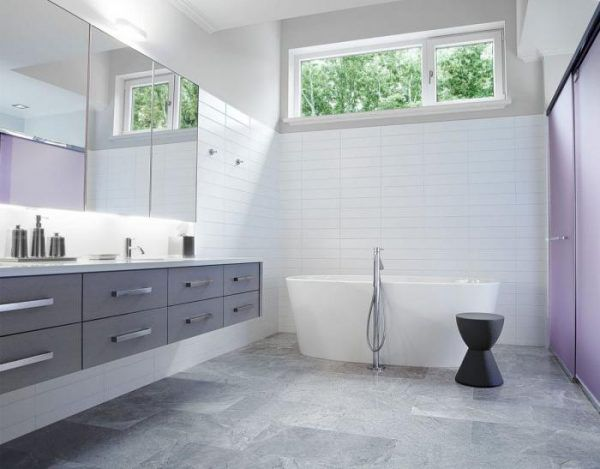 Дизайн ванной комнаты в белых и серых оттенках