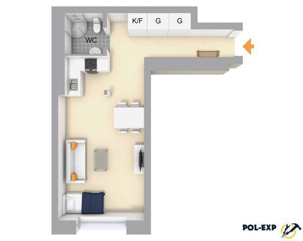 Г-образная квартира-студия