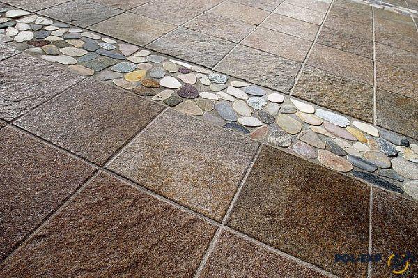 Керамогранит в сочетании с природным камнем