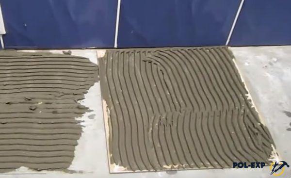Клей нанесен на плитку