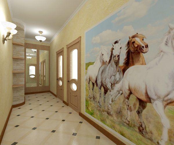Полукоммерческий линолеум в коридоре