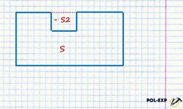 Расчет площади комнаты с вырезом