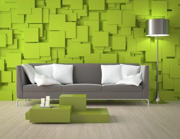 Салатовые стены, светлый серый пол