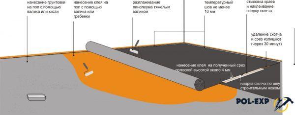 Схема укладки линолеума на клей