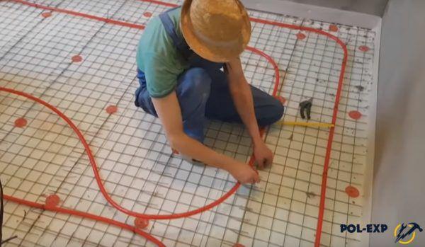Укладка труб для контура теплого пола