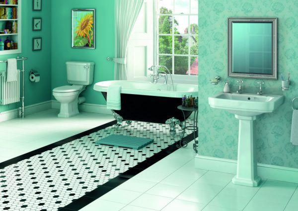 Яркая ванная комната в мятных оттенках