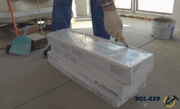 Распаковка пачек керамогранита