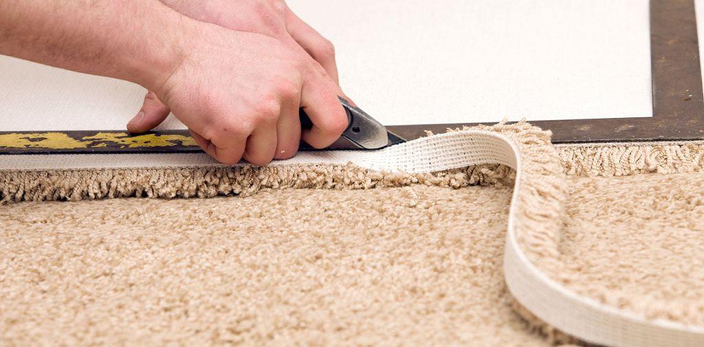 Укладка ковролина на бетонный пол, на клей, методом стретчинга своими руками