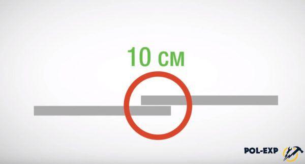Нахлест между полосами должен составлять 10 см