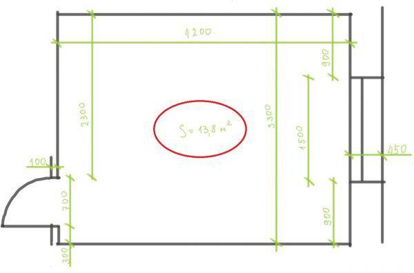 Определяется площадь помещения