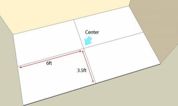 Определяется центр помещения