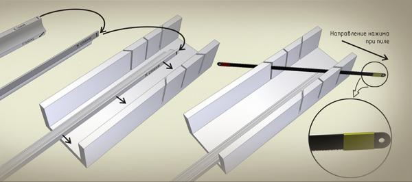 Отсутствие фурнитуры предполагает использование других способов соединения плинтусов. Это вариант с шаблонами для подрезки и без них