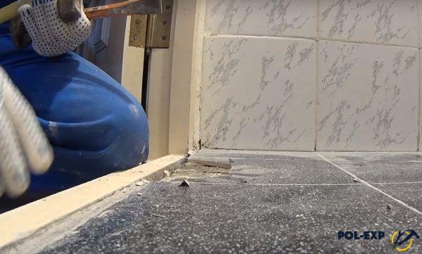 Процесс удаления плитки