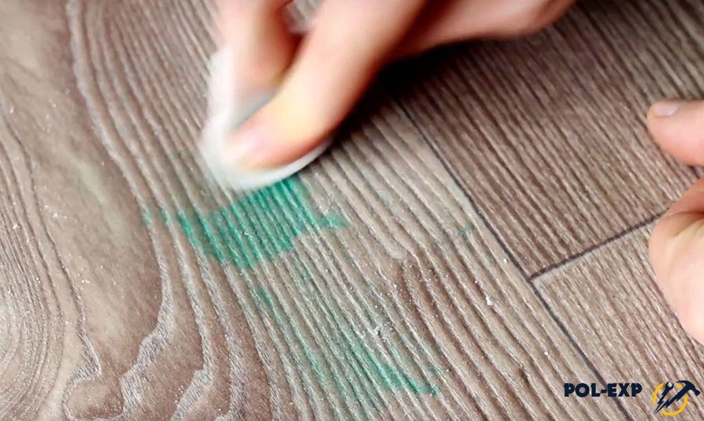 Как удалить пятна фломастера с линолеума фото