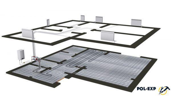 Схема отопления двухэтажного дома с теплыми полами