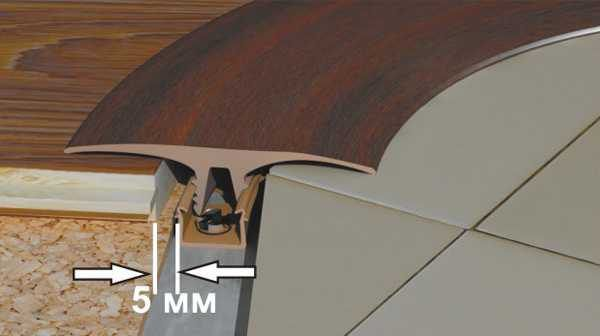 Стыковка ламината с плиткой гибким профилем