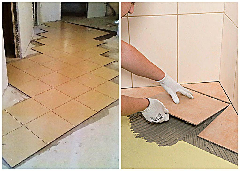 диагональная укладка плитки на пол