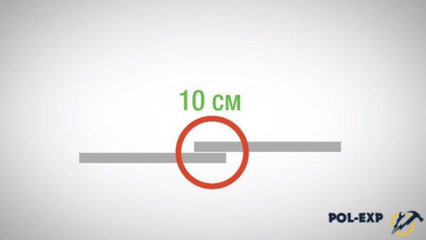 Схема укладки, нахлест 10 см